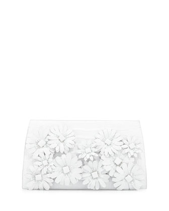 Slicer Crocodile Flower-Applique Clutch Bag, White