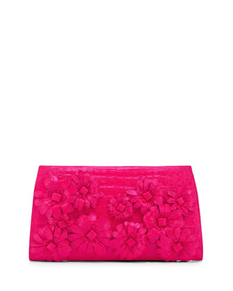Slicer Flower-Applique Crocodile Clutch Bag, Fuchsia