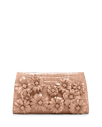 Slicer Flower-Applique Crocodile Clutch Bag, Nude Matte
