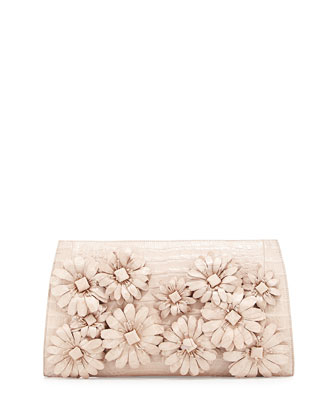 Slicer Crocodile Flower-Applique Clutch Bag, Pearl Matte