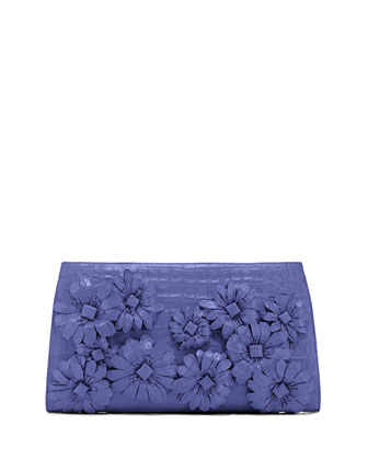 Slicer Flower-Applique Crocodile Clutch Bag, Periwinkle Matte