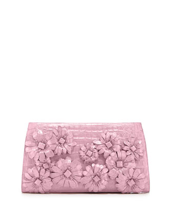 Slicer Flower-Applique Crocodile Clutch Bag, Baby Pink Matte