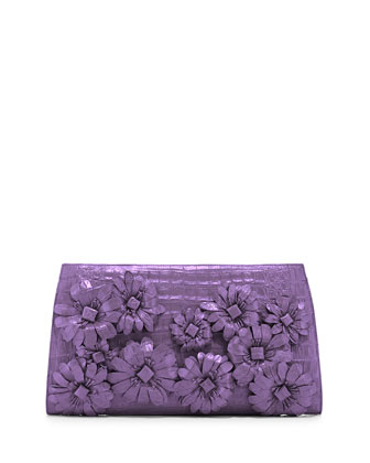 Slicer Flower-Applique Crocodile Clutch Bag, Lilac Matte