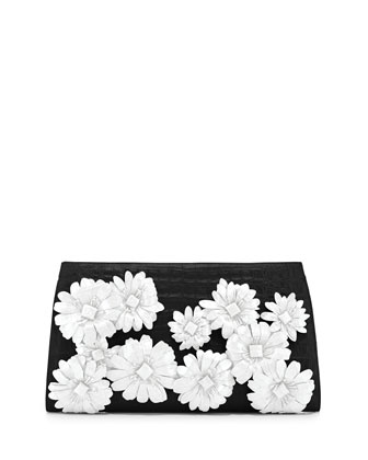 Slicer Flower-Applique Crocodile Clutch Bag, Black/White