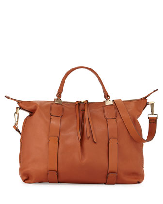 Joshua Leather Satchel Bag, Cognac