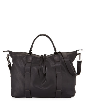 Joshua Leather Satchel Bag, Black