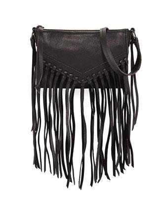 Sparrow Fringe Leather Crossbody, Black
