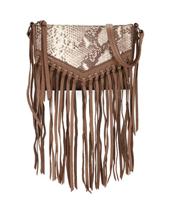 Sparrow Python/Lambskin Fringe Crossbody Bag