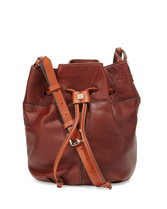 Bella Small Leather Bucket Bag, Earth