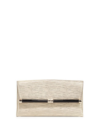 Textured-Leather Evening Clutch Bag, Gold