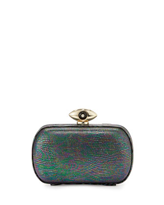 Evil Eye Minaudiere Evening Clutch, Hologram Granite