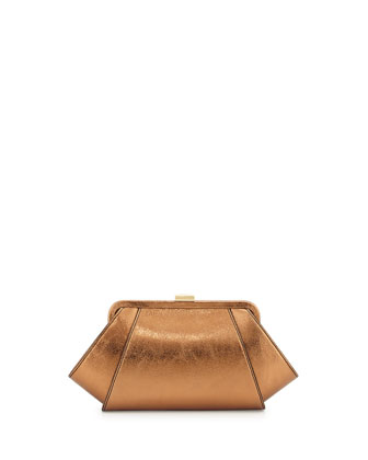 Leather Sparkle Clutch Bag, Copper