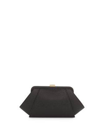 Saffiano Leather Clutch Bag, Black