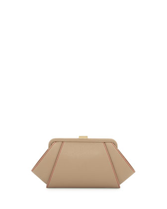 Saffiano Leather Clutch Bag, Concrete