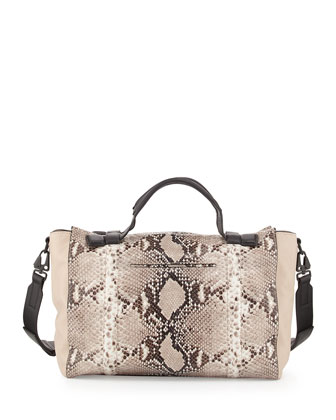 Aston Leather Satchel Bag, Fawn Python Print