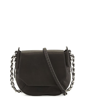 Bradbury Mini Flap Chain Hobo Bag, Black