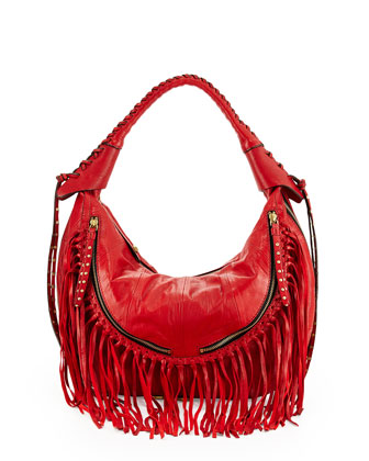 Angie Fringe Hobo Bag, Brick