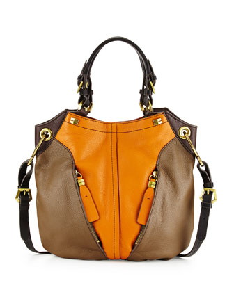 Victoria Colorblock Shoulder Bag, Pumpkin/Multi