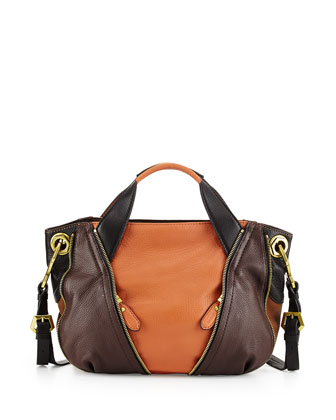 Lian Small Zip Leather Satchel Bag, Saddle/Multi