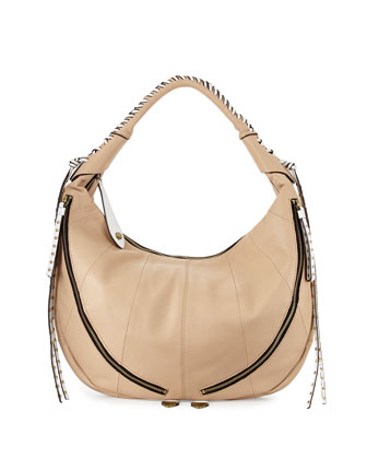 Jasmine Zip Hobo Bag, Sand/Multi