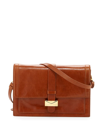 Lena Shine Leather Shoulder Bag, Cognac