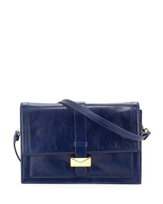 Lena Shine Leather Shoulder Bag, Blue