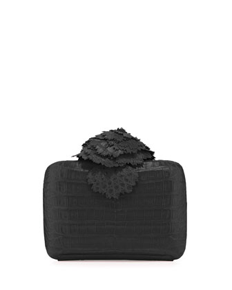 Crocodile Flower Minaudiere, Black