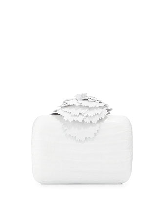 Crocodile Flower Minaudiere, White
