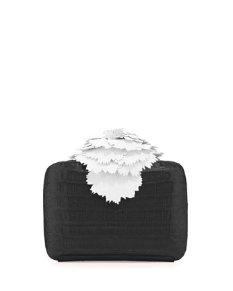 Crocodile Contrast Flower Minaudiere, Black/White