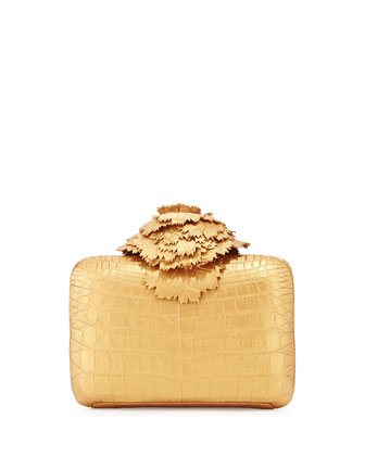 Crocodile Flower Minaudiere, Matte Gold