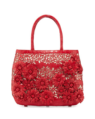 Panama Floral-Cutout Straw Basket Tote Bag, Red