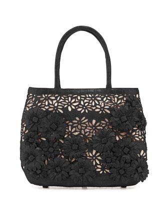 Panama Floral-Cutout Straw Basket Tote Bag, Black