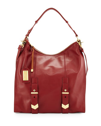 Helena Leather Hobo Bag, Wine