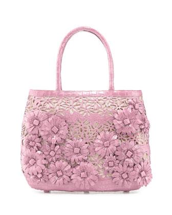 Panama Floral-Cutout Straw Basket Tote Bag, Baby Pink Matte