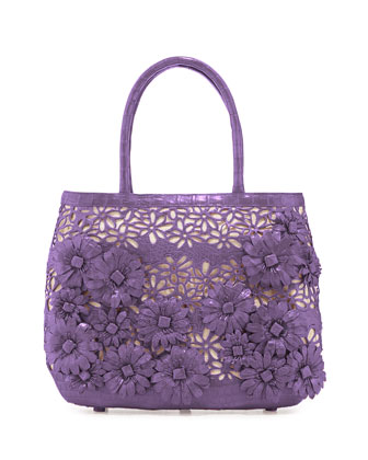 Panama Floral-Cutout Straw Basket Tote Bag, Lilac Matte