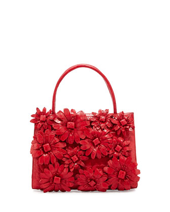 Mini Wallis Flower Crocodile Satchel Bag, Red
