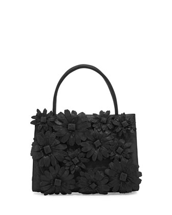 Mini Wallis Flower Crocodile Satchel Bag, Black