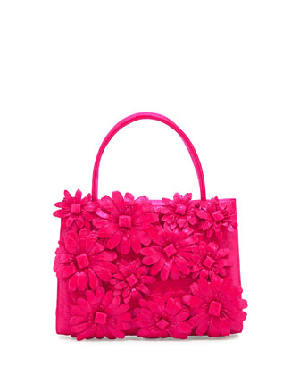 Mini Wallis Flower Crocodile Satchel Bag, Fuchsia