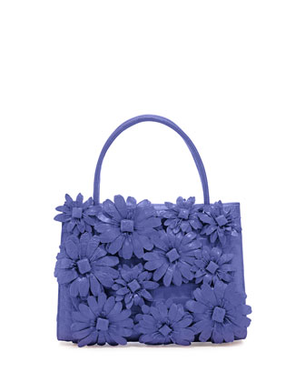 Mini Wallis Flower Crocodile Satchel Bag, Periwinkle Matte