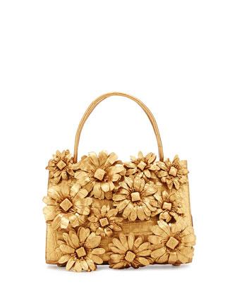 Mini Wallis Flower Crocodile Satchel Bag, Gold Matte