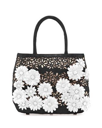 Panama Floral-Cutout Straw Basket Tote Bag, Black/White