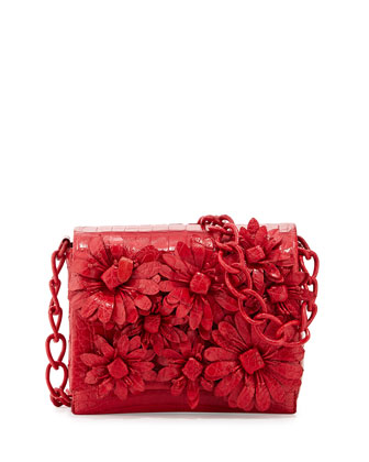 Small Crocodile Flower Chain Bag, Red