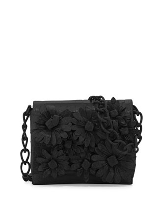 Crocodile Flower Chain Bag, Black