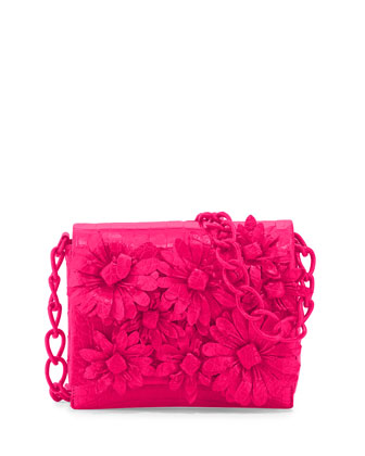 Crocodile Flower Chain Bag, Fuchsia