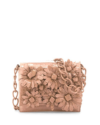 Crocodile Flower Chain Bag, Nude Matte