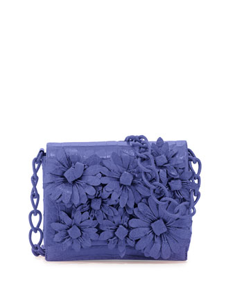 Crocodile Flower Chain Bag, Periwinkle Matte