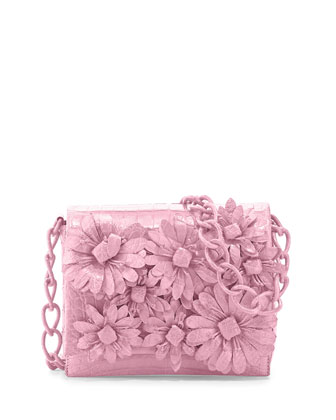 Crocodile Flower Chain Bag, Baby Pink Matte