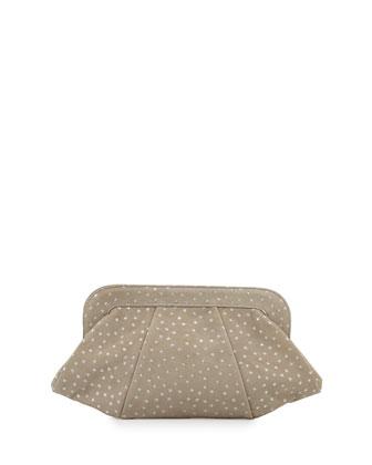 Tatum Suede Clutch Bag, Taupe/Silver