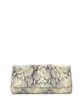 Caroline Embossed Leather Clutch Bag, Gray/White