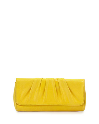 Caroline Leather Clutch Bag, Yellow
